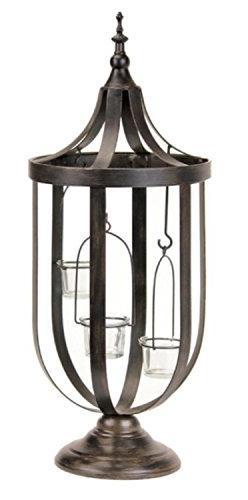 "22"" Decorative Antique-Style Bronze Birdcage Glass Votive Ca"