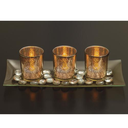 Dawhud Direct Decorative Glass Candle Holder Set with LED Te