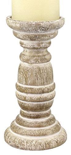 Stonebriar Decorative Worn White Wooden Pillar Candle Holder