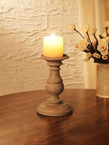distressed grey round pillar candle