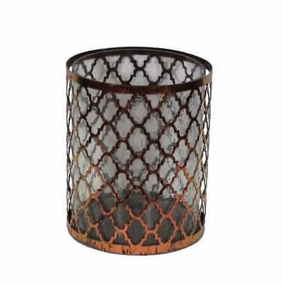 Distressed Metal/Glass Candle Holder, Copper Clear