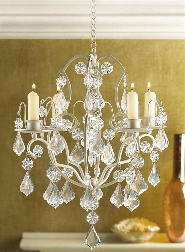 Ivory Baroque hanging ACRYLIC crystal Chandelier Candle Hold