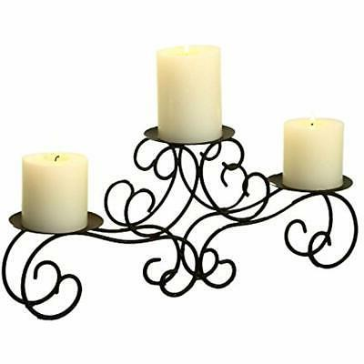ELEGAN Iron Table Top Candle Holder Holds 3 Pillar Candles W