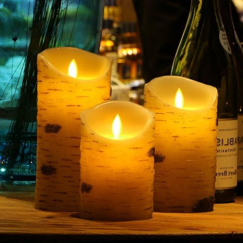 Flameless Candles Flickering Light bark and 10-key Remote Wedding,Votive,Yoga and of