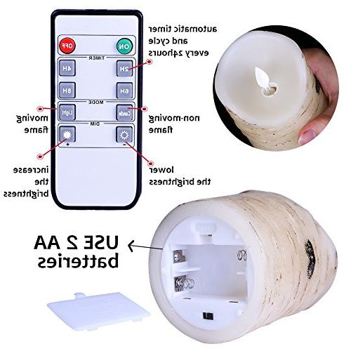Flameless Light Pillar bark with and 10-key Remote Wedding,Votive,Yoga of