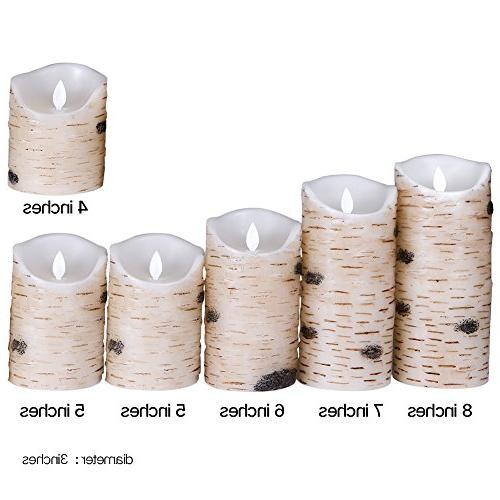Flameless Light Pillar Real Birch bark with Timer and Wedding,Votive,Yoga of 6