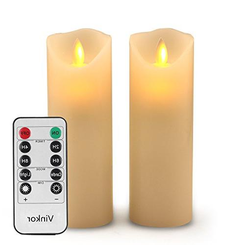 "Vinkor Flameless Flameless Candles Set of 2 6"" Classic Real Wax Pillar Flame &"