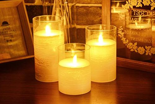 Iovin Candles 3 Pack Set Real Wax Realistic Flickering Flames 24-Hour Function 3