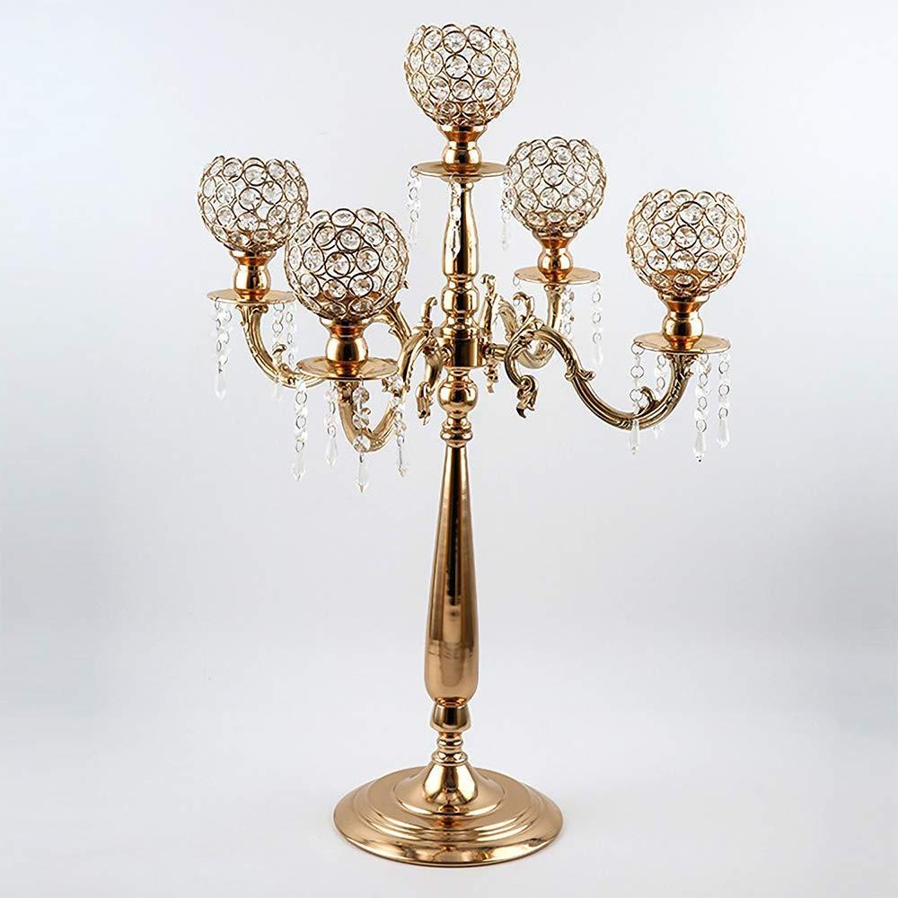 <font><b>VINCIGANT</b></font>5 Arms Candelabra Home Holiday Decorative Crystal for Dinner Formal Event