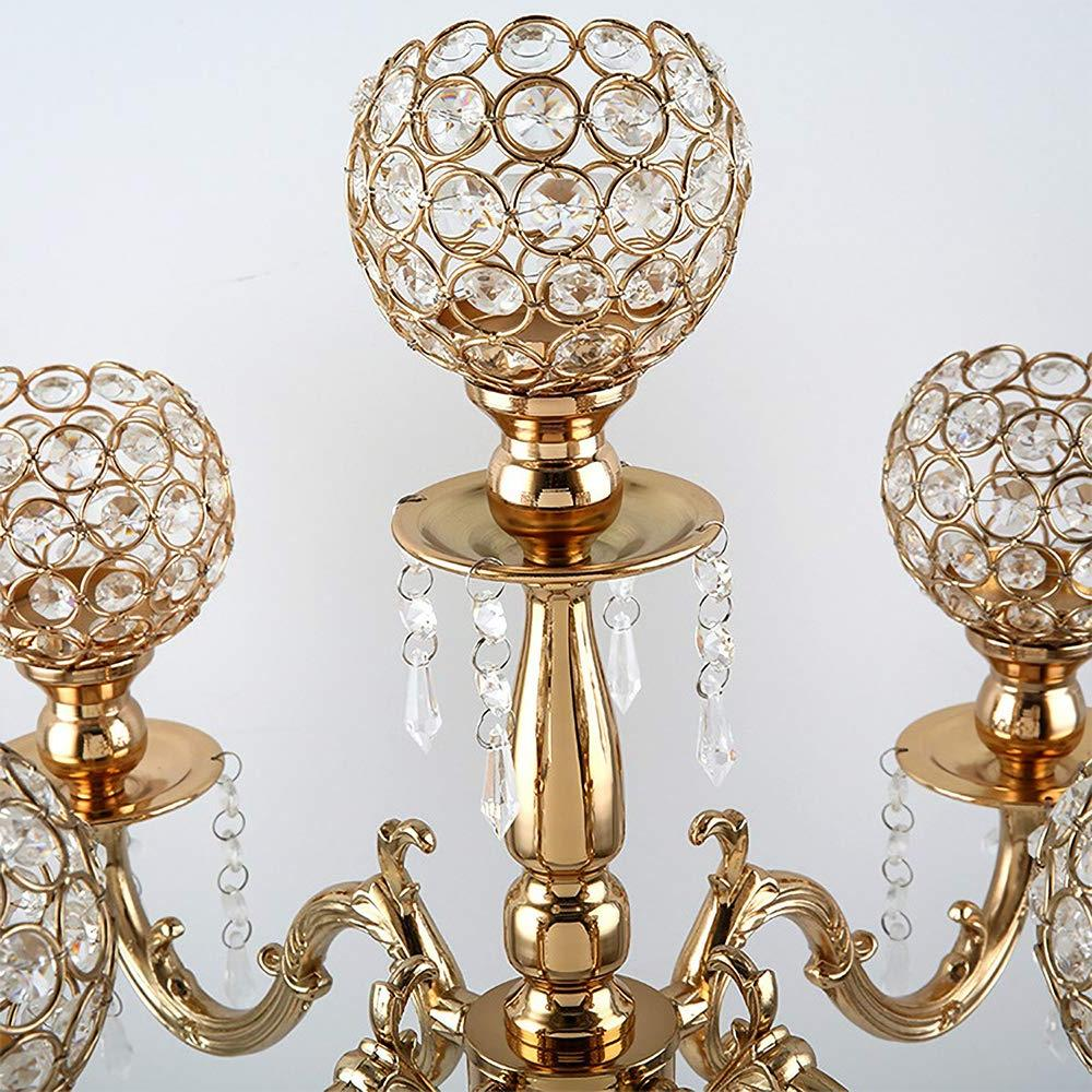 <font><b>VINCIGANT</b></font>5 Arms Candelabra Holiday Decorative Centerpiece Crystal <font><b>Candle</b></font> <font><b>Holders</b></font> Dinner Party and Event