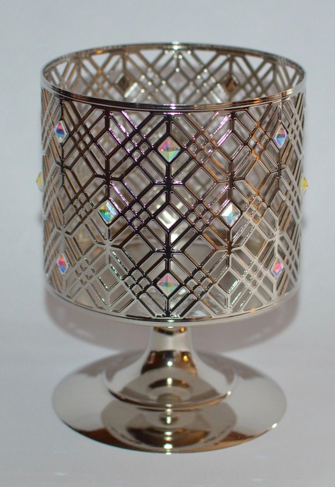 Bath and Body Works Geo Bling Pedestal 3 Wick Candle Holder.