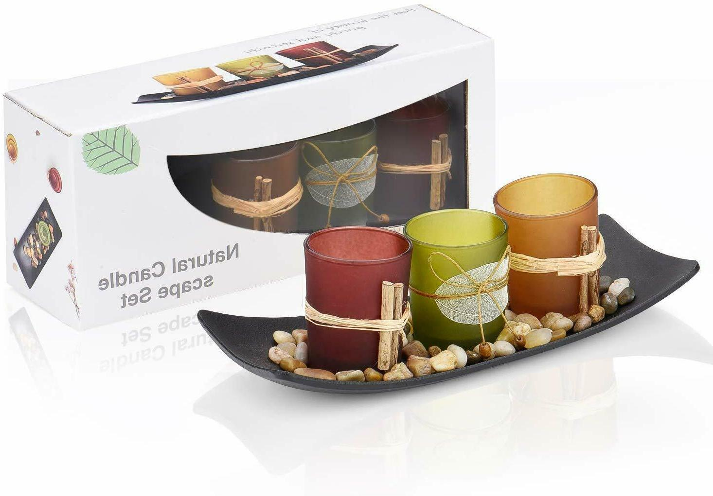 Best Gift Tea Light Candle Set W 3 Decorative Holders Rocks & Tray Home