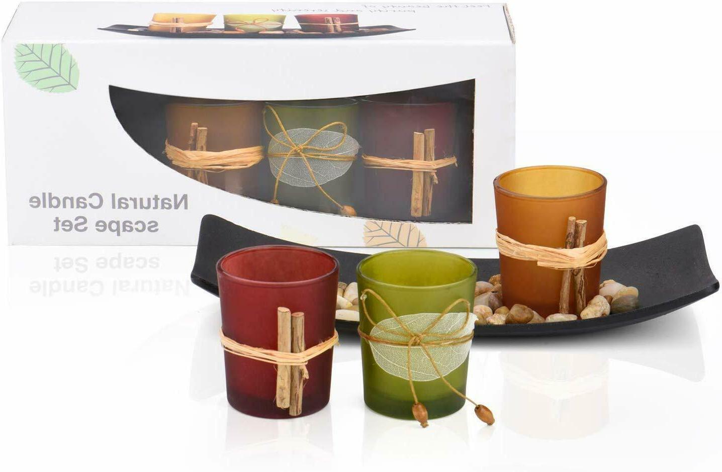 gift tea light candle holder set w