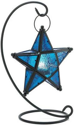 Gifts and Decor Blue Sapphire Star Tabletop Candleholder Lan
