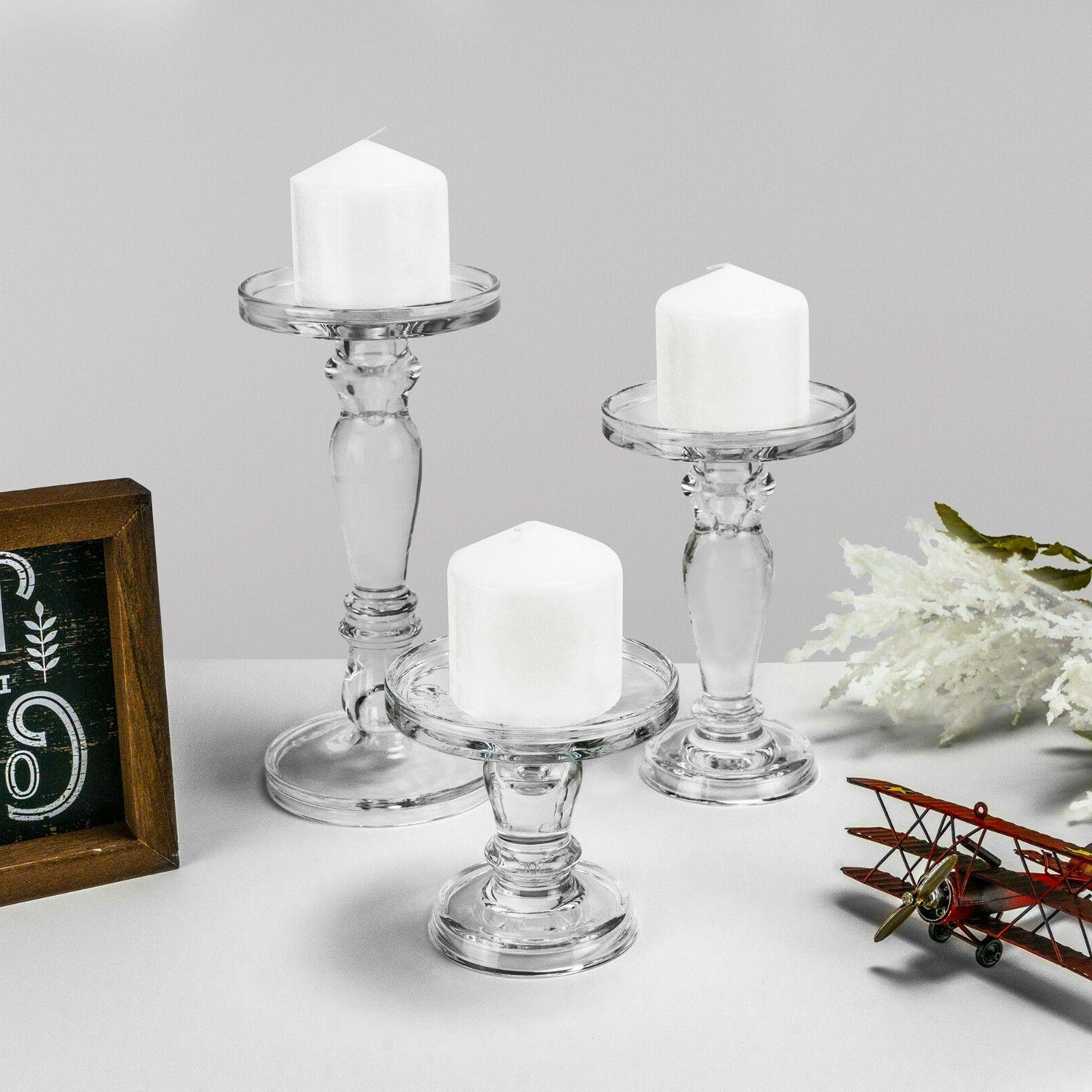 Glass Candle Holder Set Of 3 Pillar Holders Candlesticks Ste