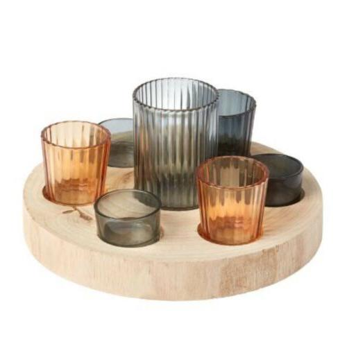 Candle Holder Set with Wood Tray, 8-Piece beautyful center p
