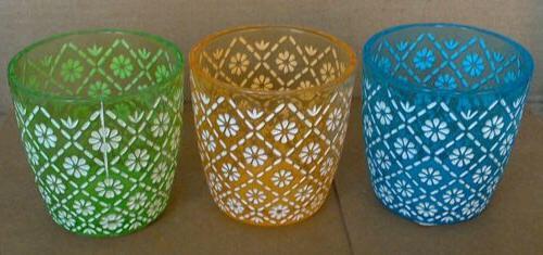 glass floral painted votive tea light holders