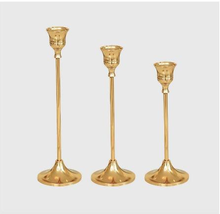 Gold Holders, Metal Candlesticks Tapered of - Out Box