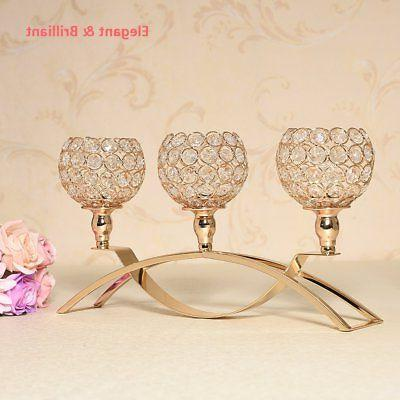 VINCIGANT Gold Crystal Candle Holders / 3-Candle Table
