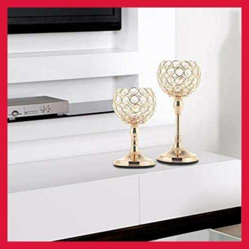 VINCIGANT GOLD Crystal Holders Set Of 2/Modern Wedding Decorative