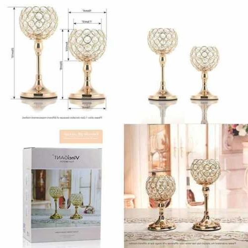 gold crystal candle holders set of 2