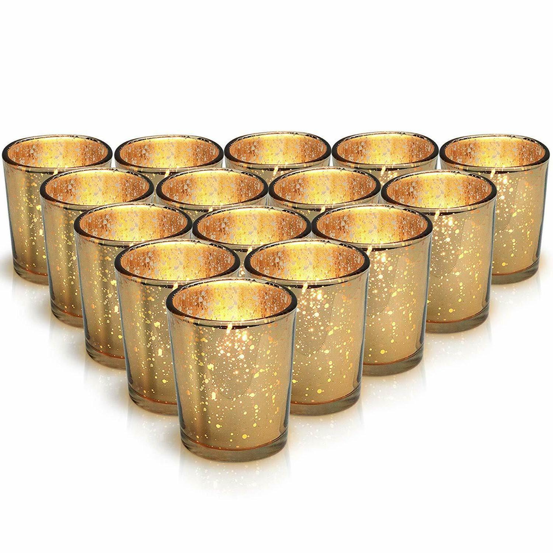gold mercury votive candle holder set of