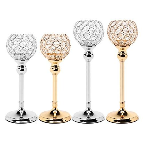 gold silver crystal candle holder
