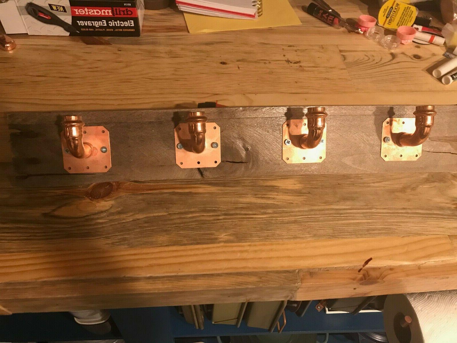 GORGEOUS Copper & Reclaimed Barnwood Holder/Coat Rack