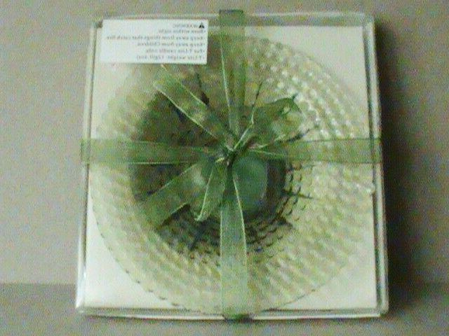 green hobnob glass 6 dish candle holder