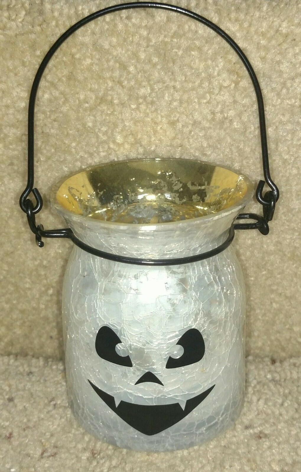 halloween white crackle glass jack o lantern