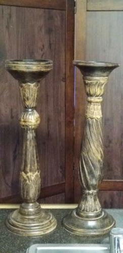 Hand Carved Mango Wood Candle holder India Pillar Candle Hol