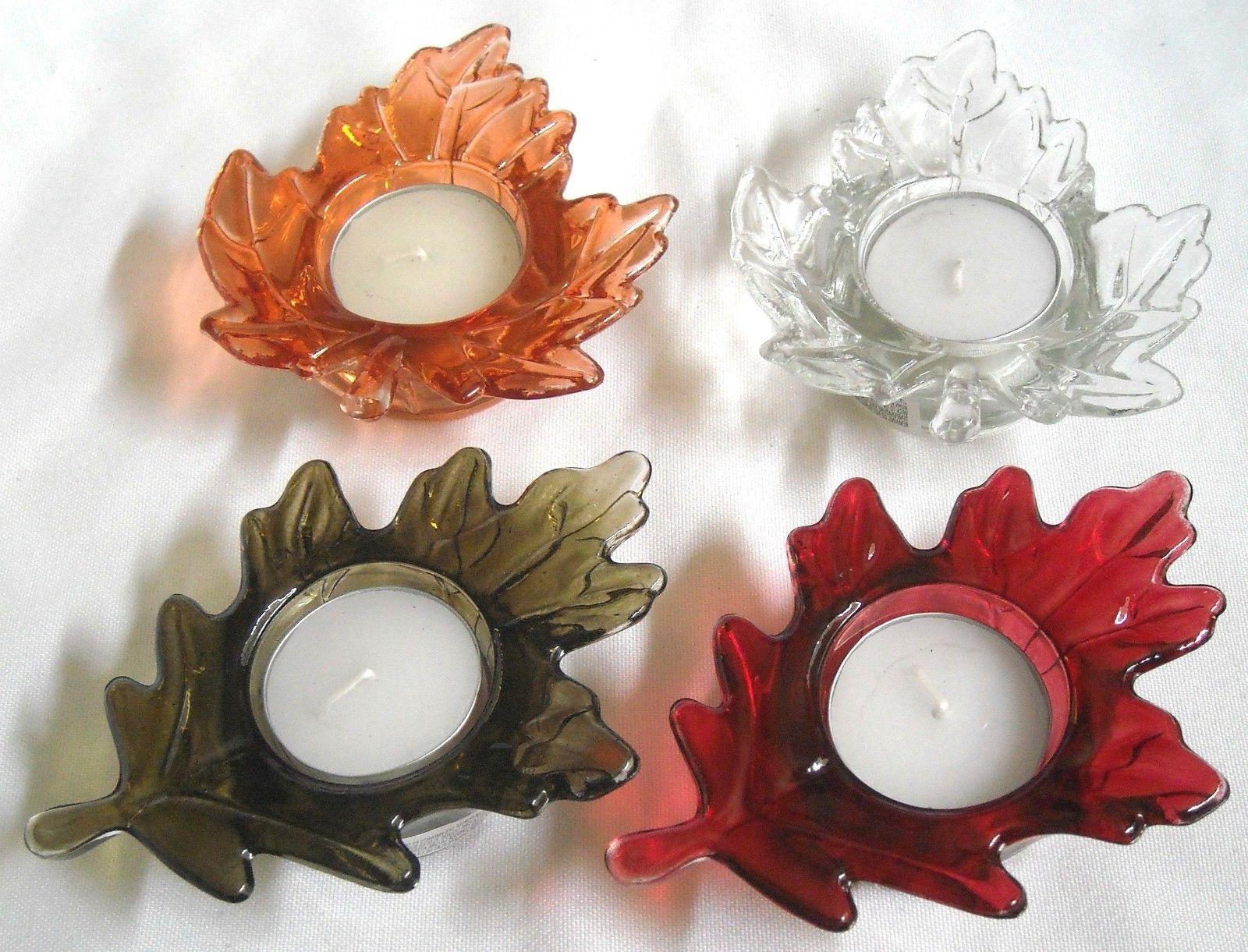 Harvest Leaf Glass Tealight Candle Holder with Tealight Cand