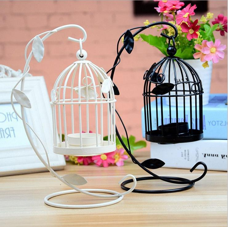 iron hanging candlestick candle holder bird cage