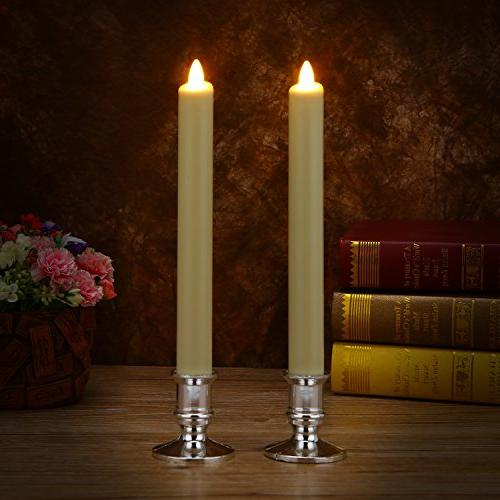 Ksperway 2 Ivory Flameless Taper Candles, Operated,Moving Wick,LED Candle with Timer Remote