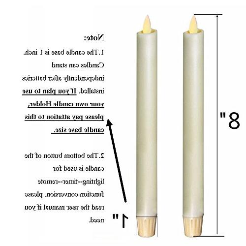 "Ksperway 8"" Flameless Taper Candles, Battery Operated,Moving with Timer"