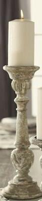 Large Distressed Gray, White, and Muted Green Wood Candlesti