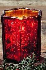 Medium Red Mercury Glass Star Candle Holder