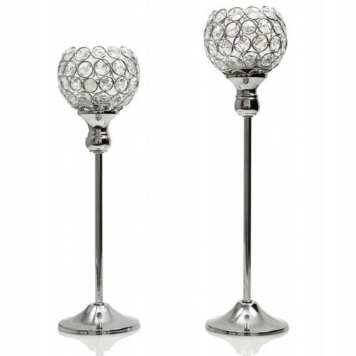 VINCIGANT Modern Silver Crystal Candle Holders/Decorative Ca