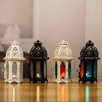 Moroccan Style Glass Lanterns Lamp Metal Tea Light Candle Ho