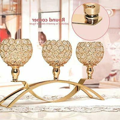 VINCIGANT Mother&39s Candleholders Day Gold Crystal Holders 3-Candle For