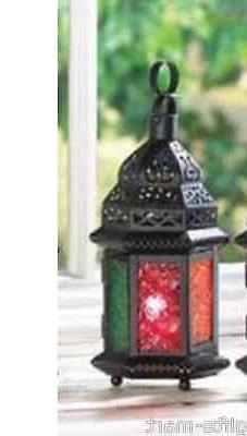 "Multi color rainbow 10"" Moroccan lantern Candle holder light"