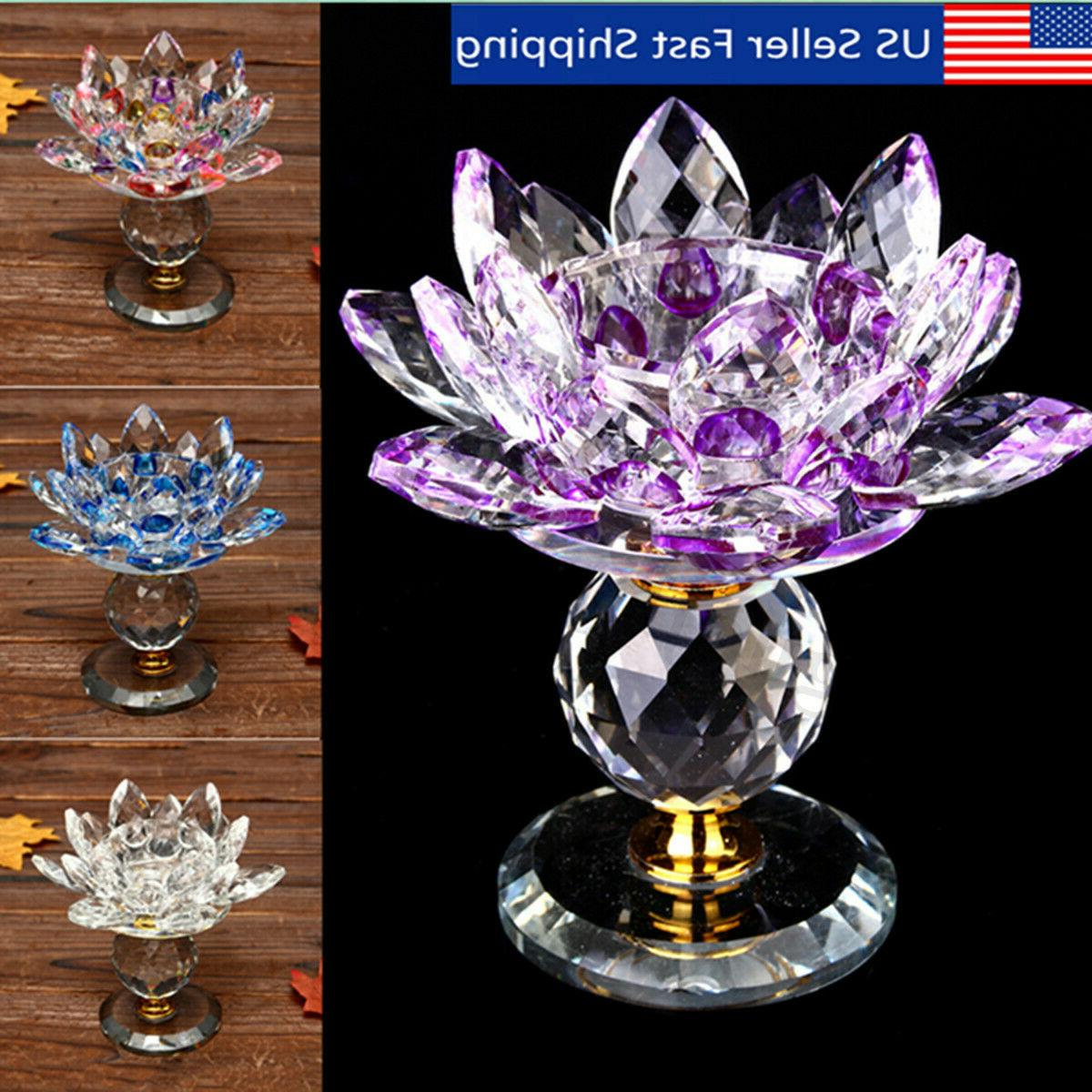 new glass crystal lotus tealight candle holder