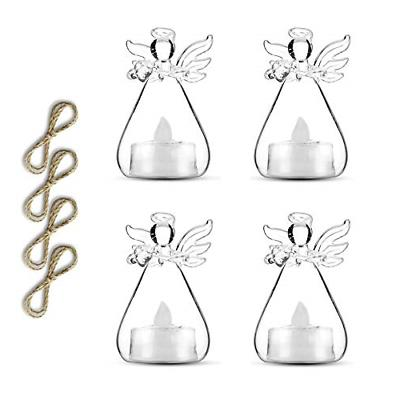 Sziqiqi Pack of 3 Hanging Glass Candle Holders Angel Candleh