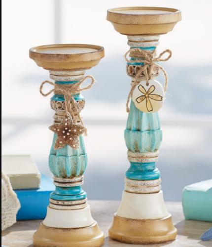 Pillar Holder LED Candles Coastal Ceramic Candleholders