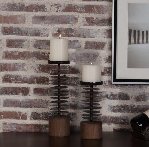 Pillar Candle Holder Set of 2 Candelabra Wood Metal Brown Gi