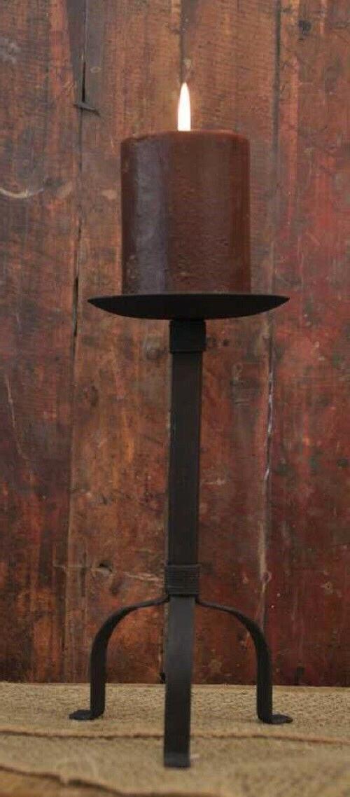 "Primitive Black Pillar Candle Holder, 10"" Tall, 4"" Candle Pl"