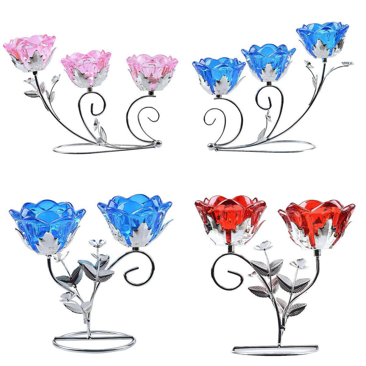 red blue flower glass tealight candle holder