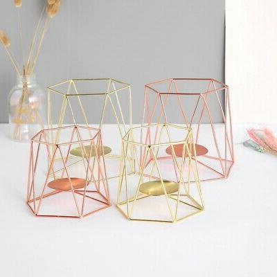 Romantic Geometric Iron Plating Holder Table Decoration