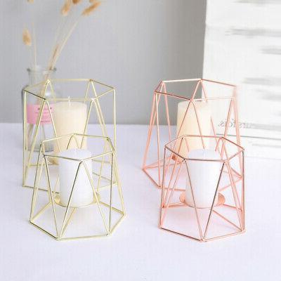 romantic geometric iron art plating candle holder