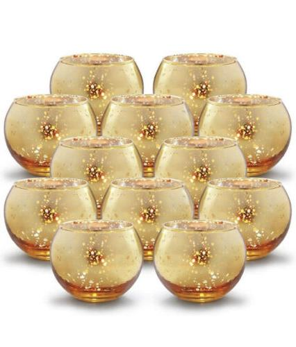 round gold votive candle holders